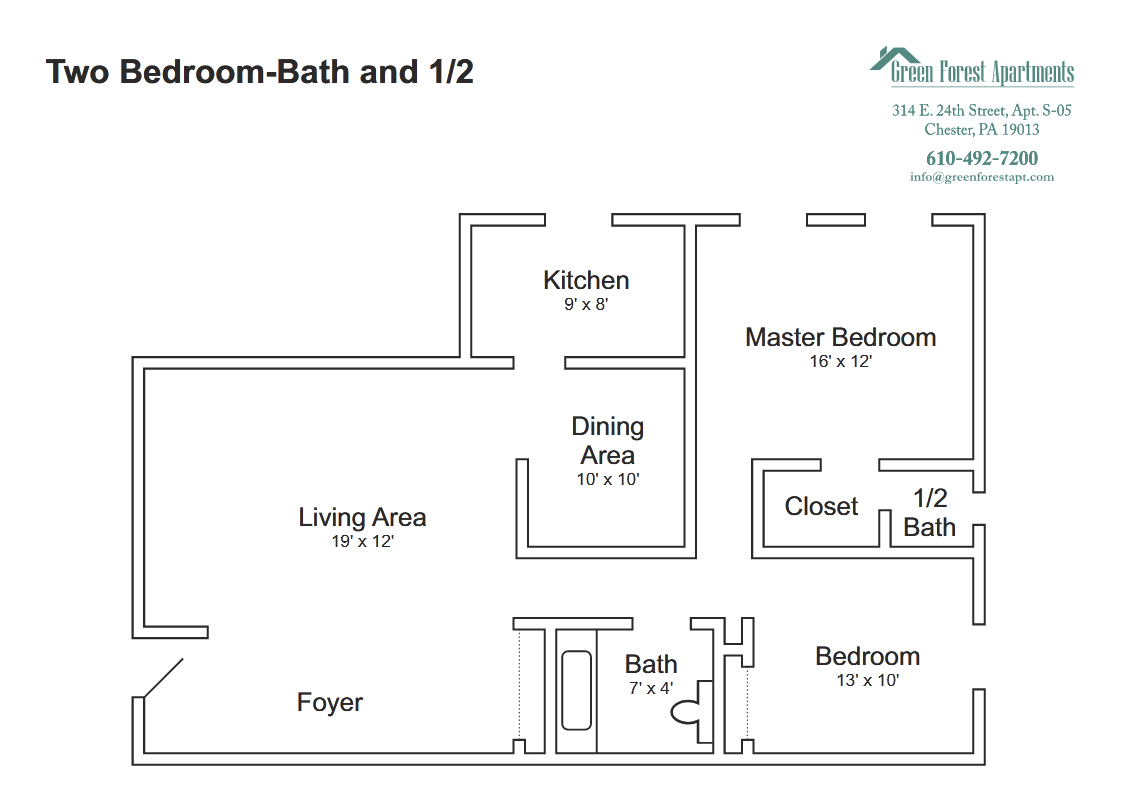 Two Bedroom-Bath and 1/2